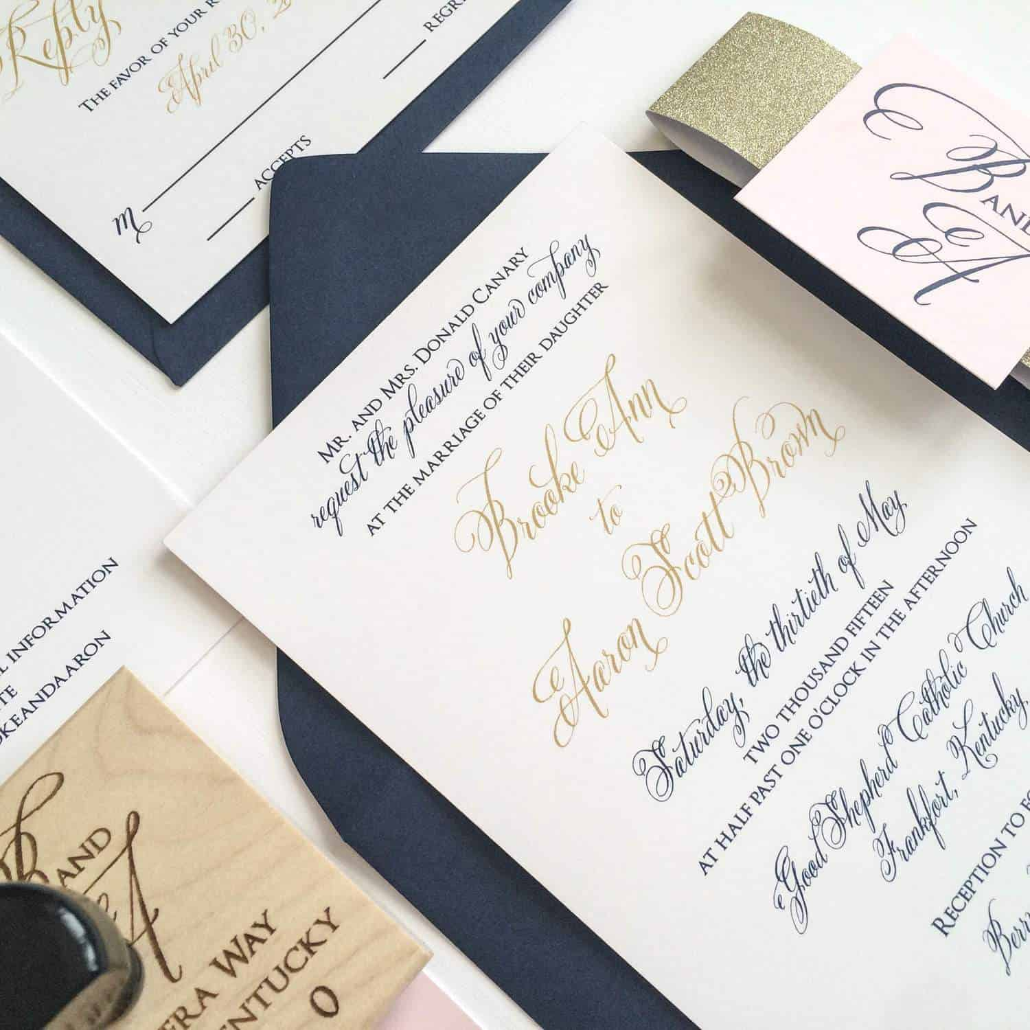 Gold, Navy and Blush Wedding Invitation for a Kentucky Bride
