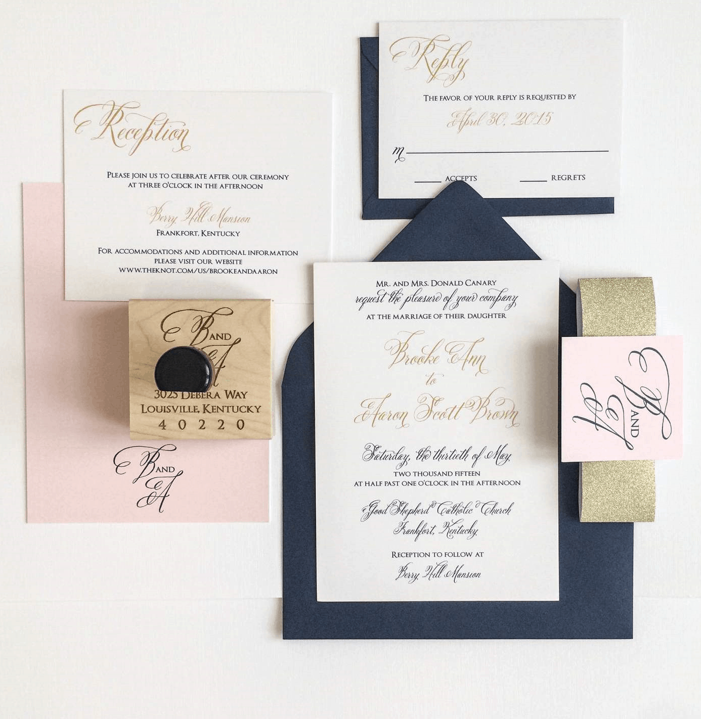 Gold Navy And Blush Wedding Invitation For A Kentucky Bride Meg