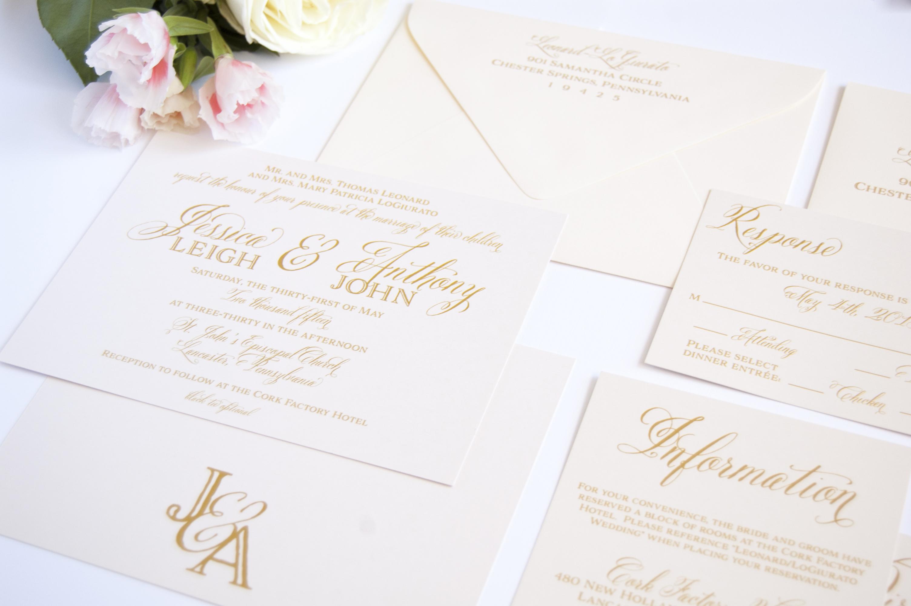 Ivory Formal Wedding Invitation Suite Monogram Backer - Meg Morrow ...