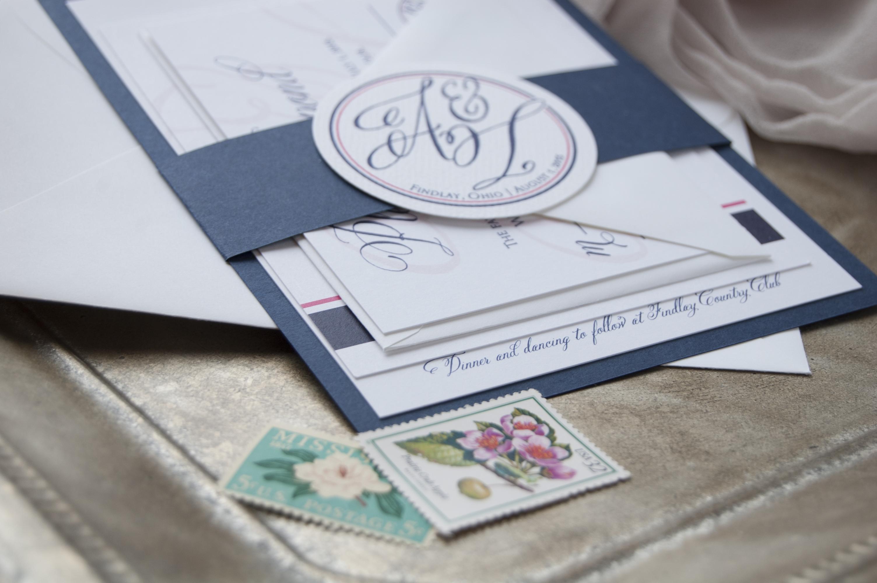 Navy & Pink Monogram Custom Wedding Invitations
