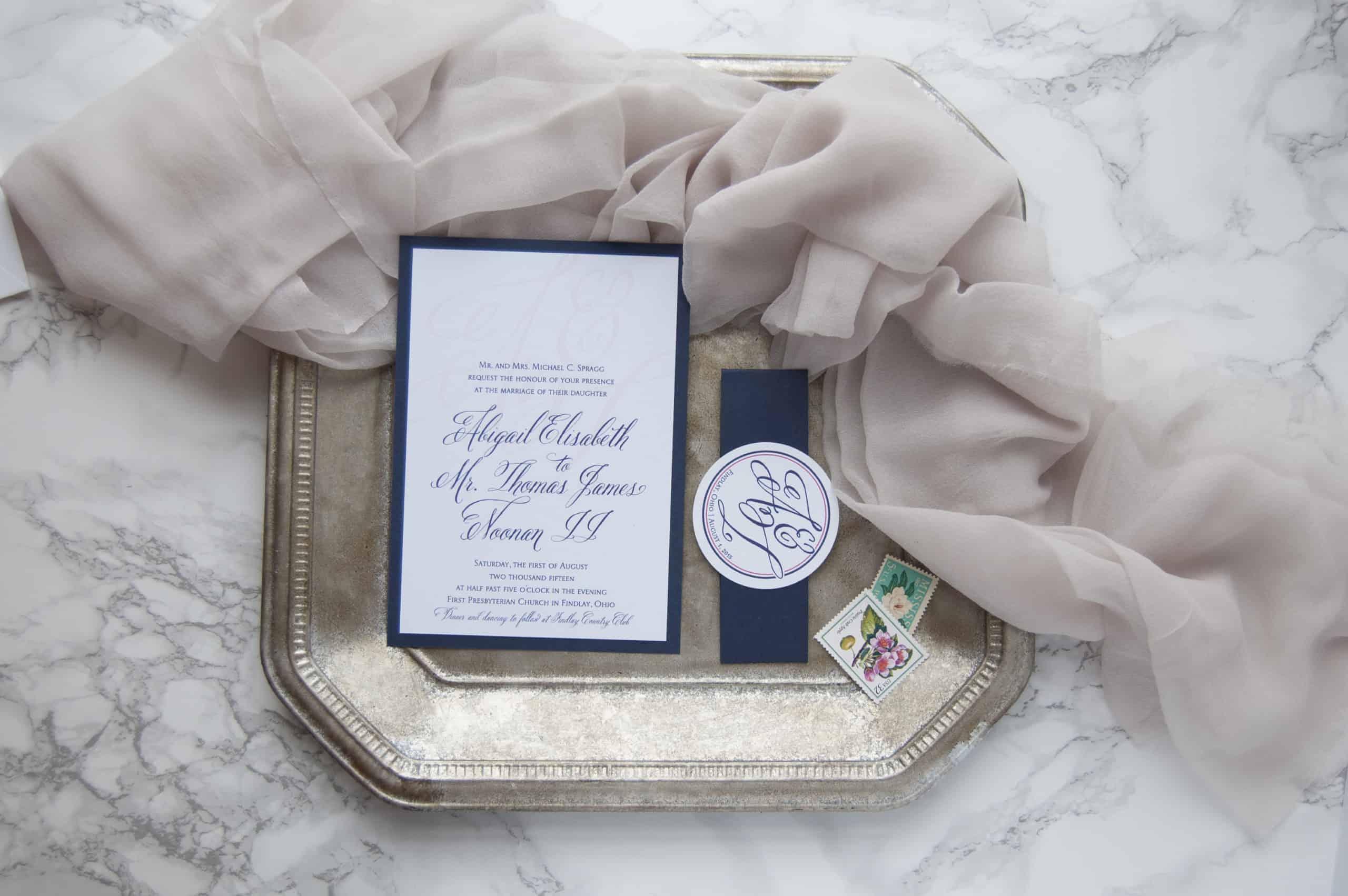 Navy & Pink Monogram Wedding Invitations