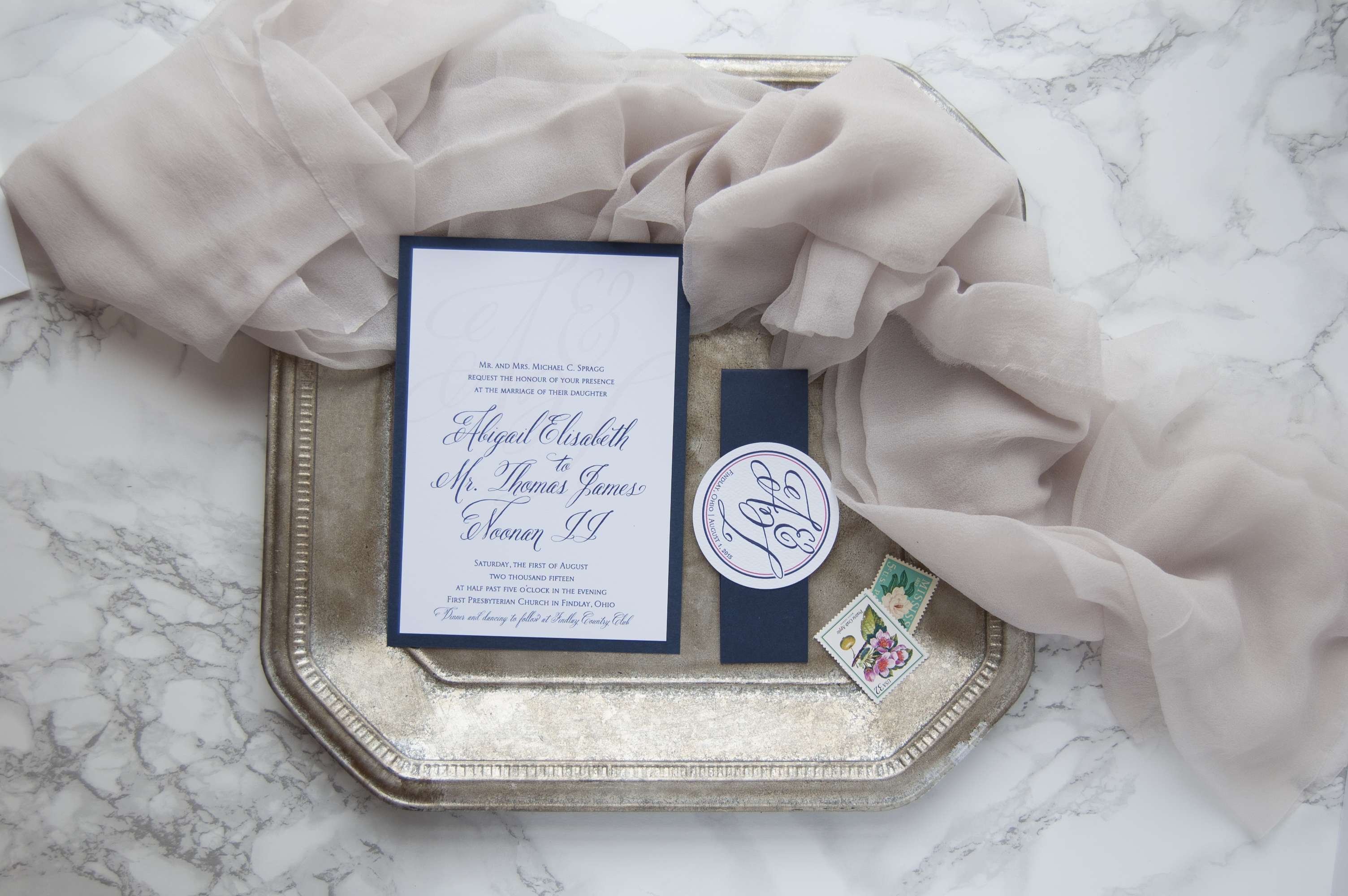 Pink, Navy and Blush Country Club Wedding Invitations