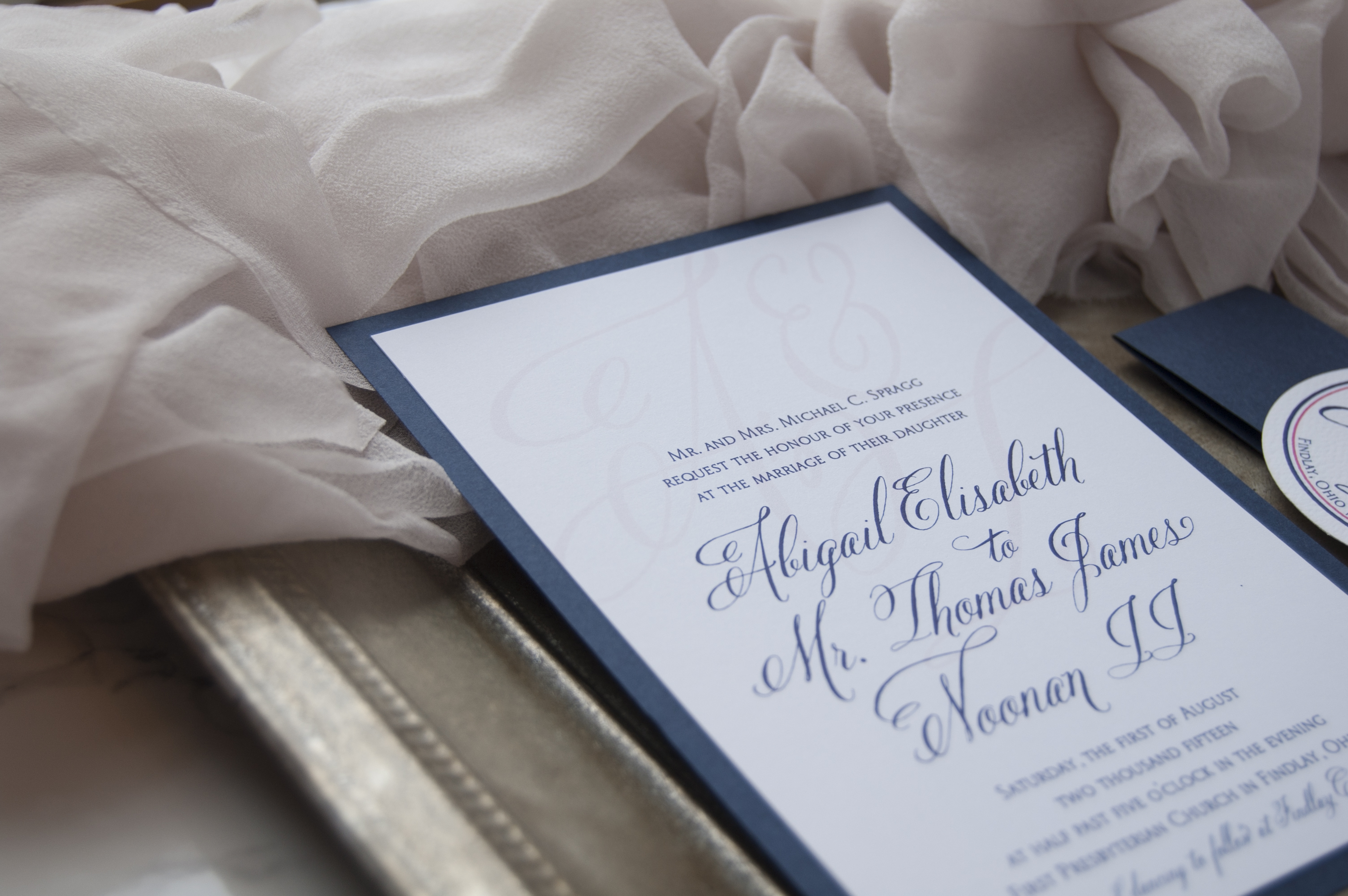 Country Club Formal Navy and Blush Wedding Invitations