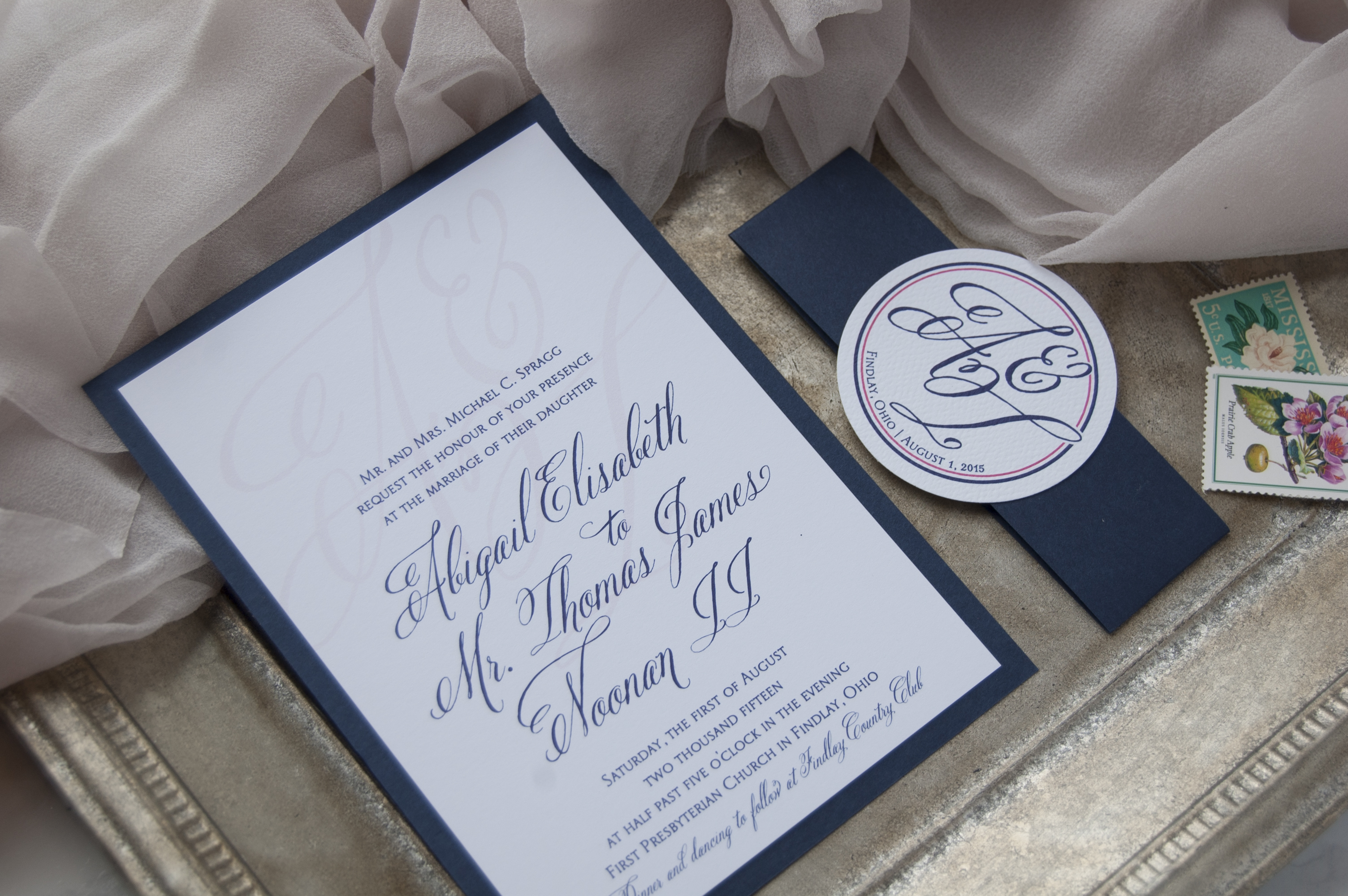 Navy & Pink Monogram Belly Bands with Script Wedding Invitation