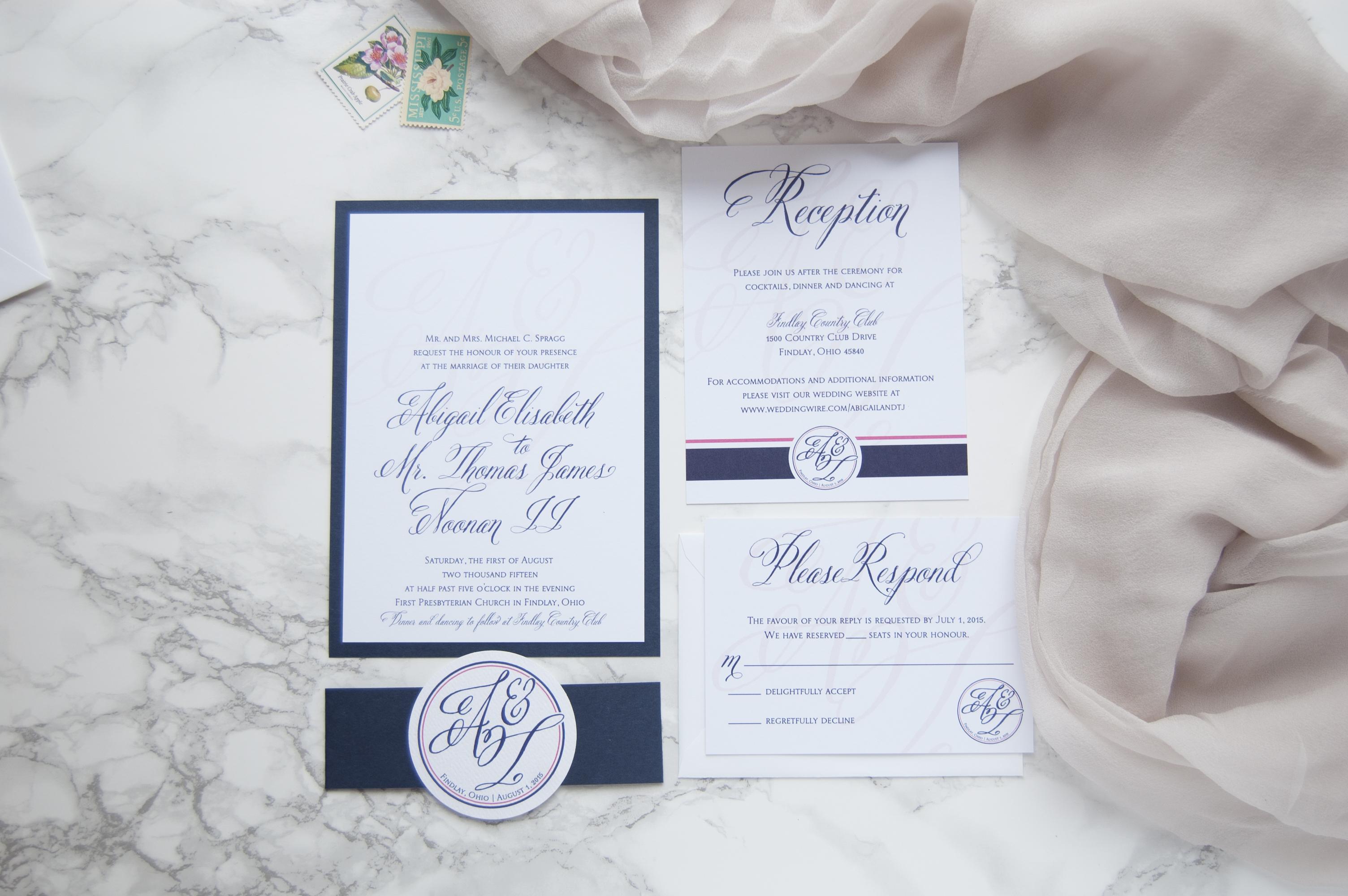 Navy & Pink Monogram Custom Wedding Invitation Suite