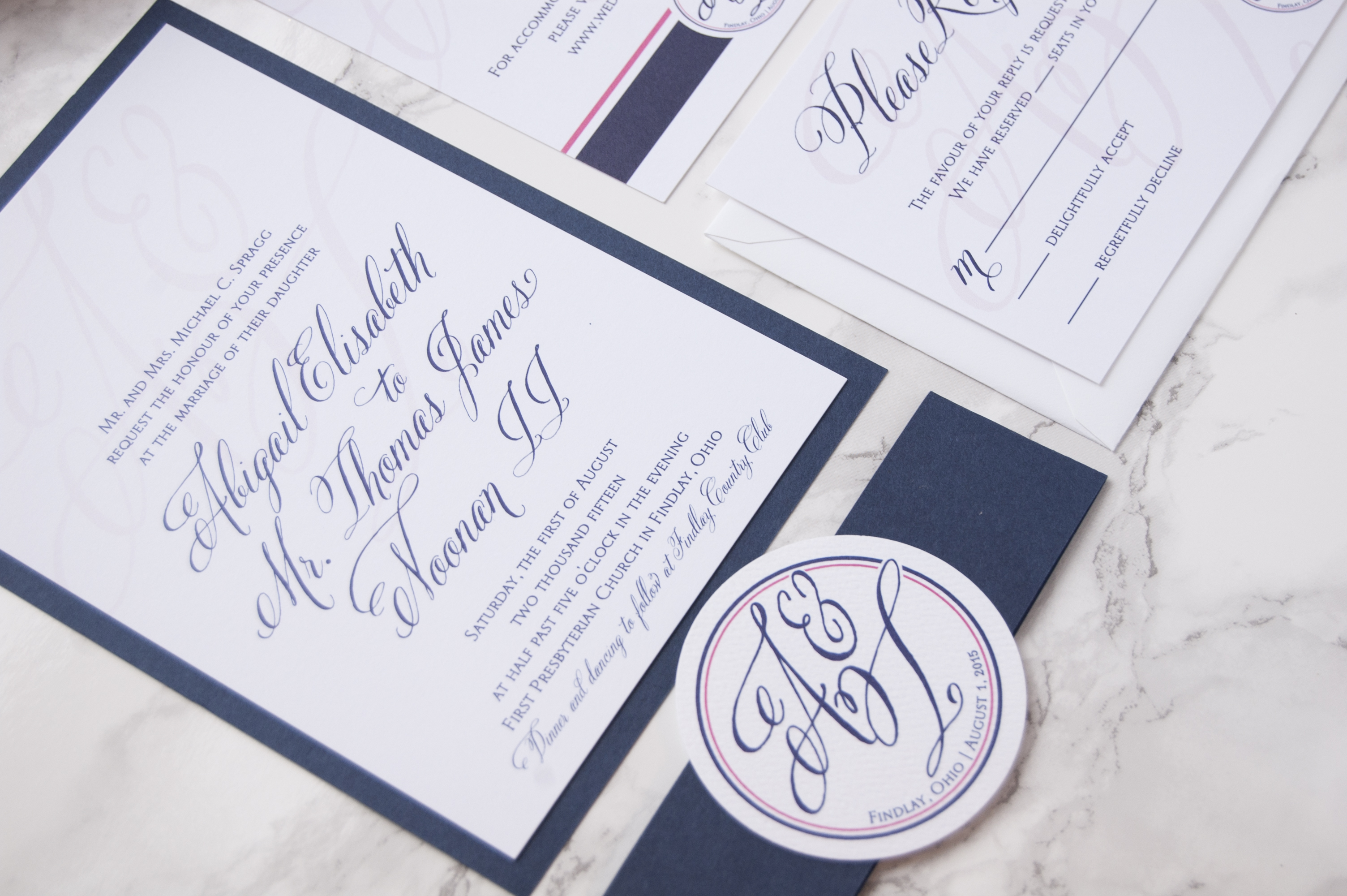 Raspberry, Blush and Navy Script Custom Wedding Invitation Suite for an Ohio Bride