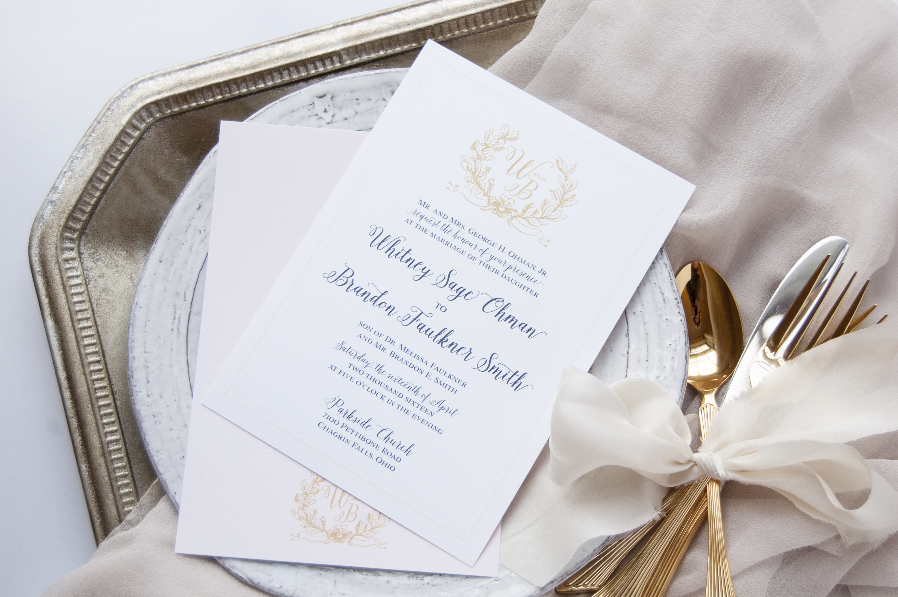 Navy, Gold and Blush Laurel Monogram Wedding Invitations