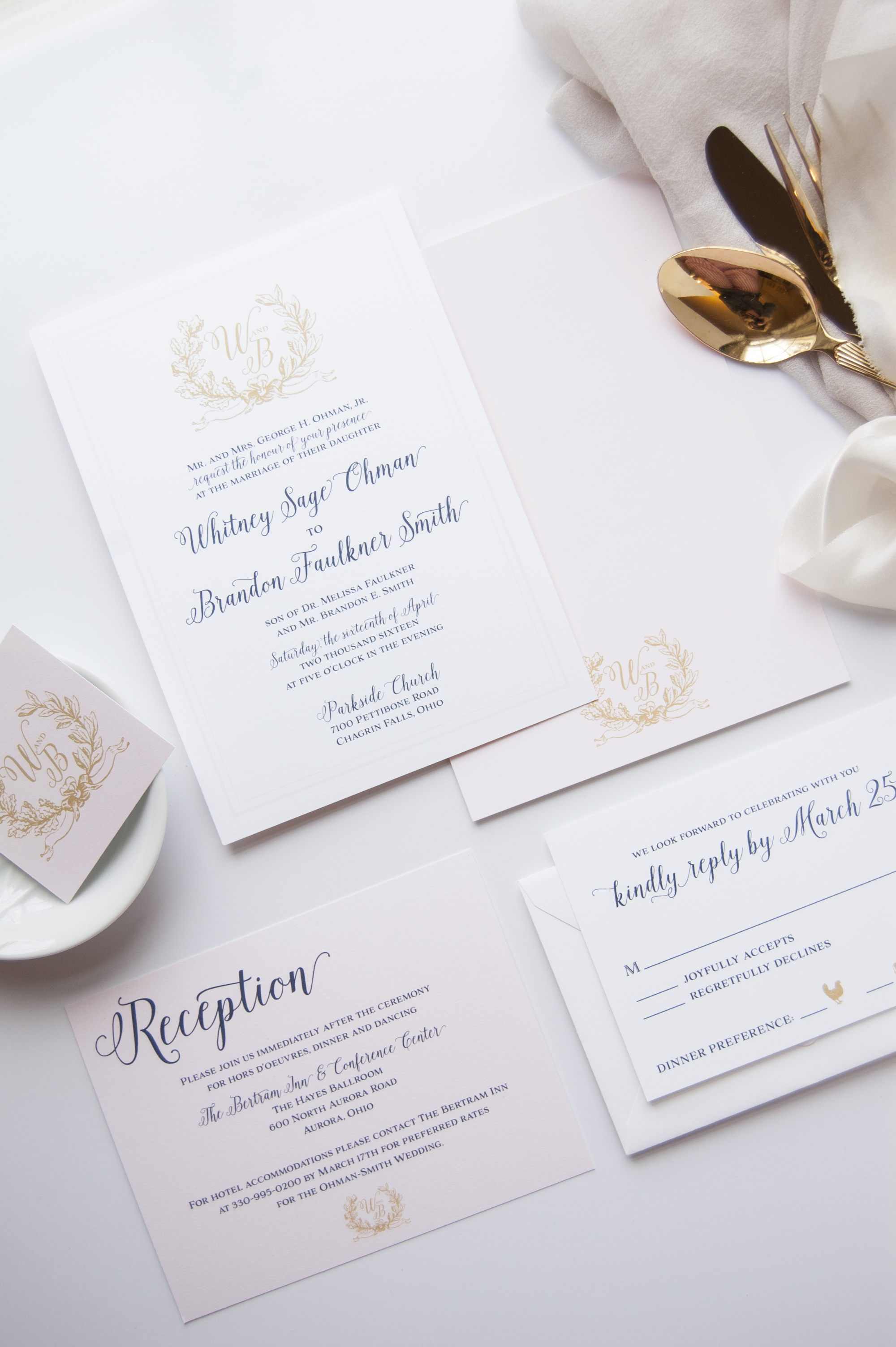 Navy, Gold and Blush Laurel Monogram Wedding Invitations