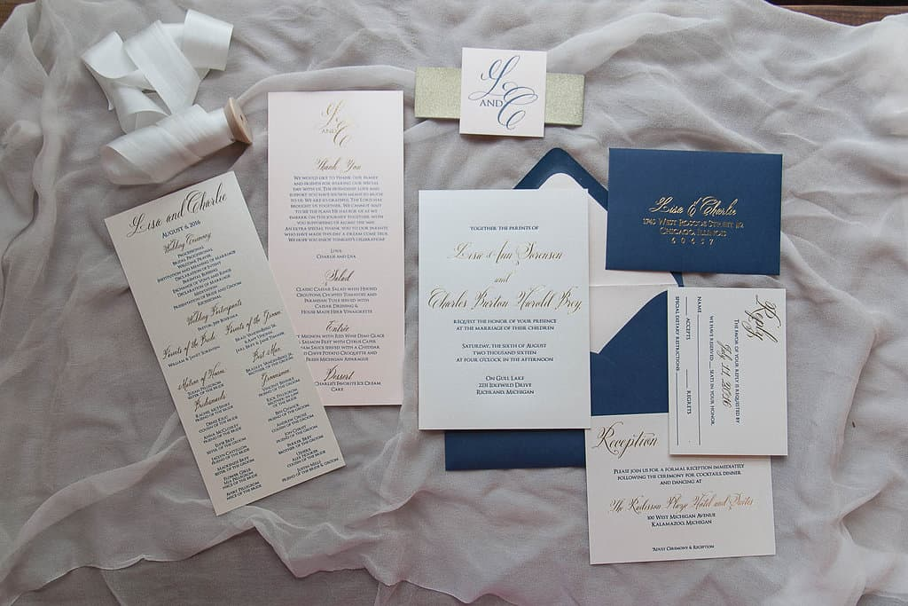 Favorite Navy Letterpress and Gold Foil Wedding Invitation Suite