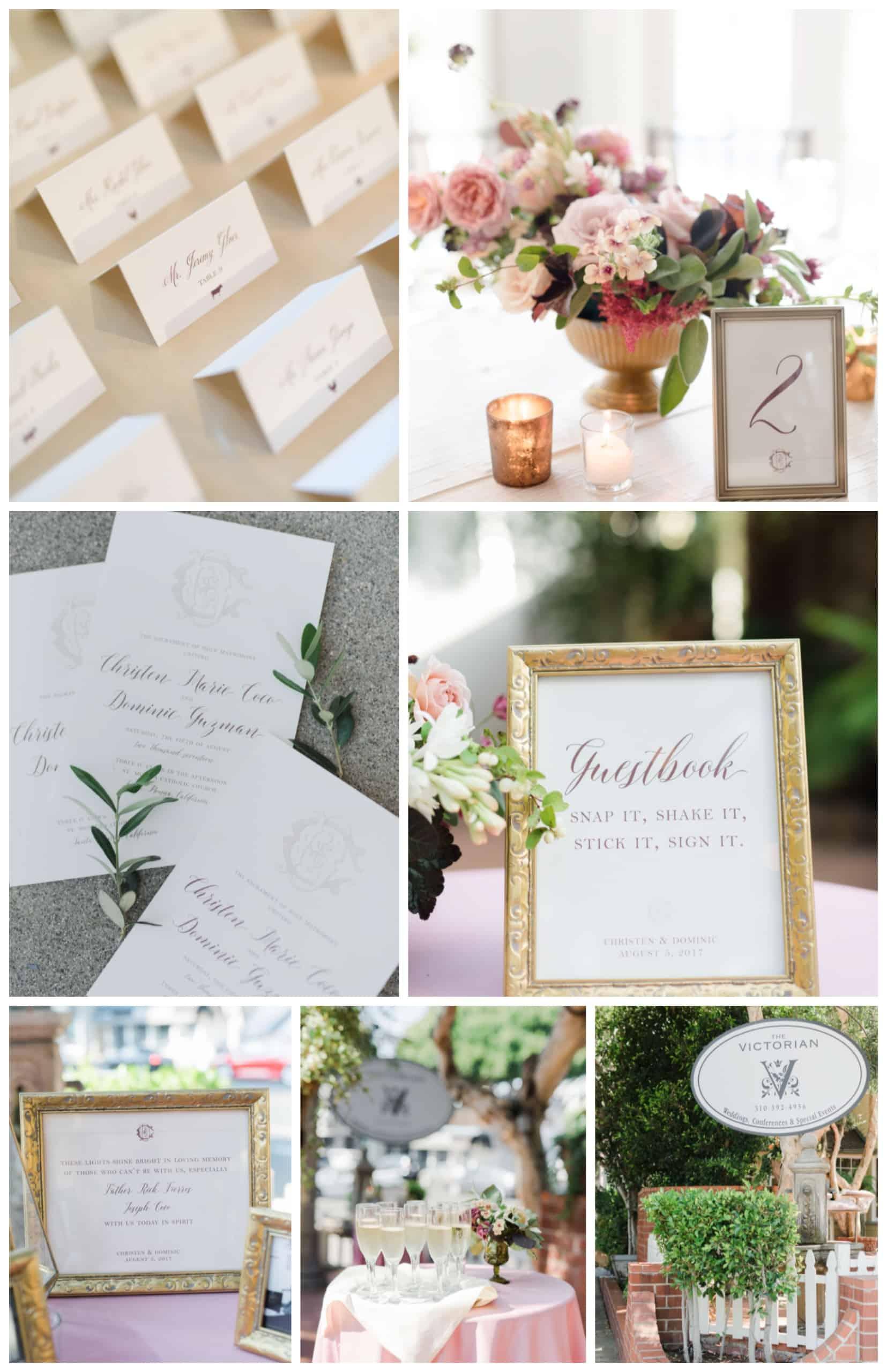 Blush and Burgundy Monogram California Wedding