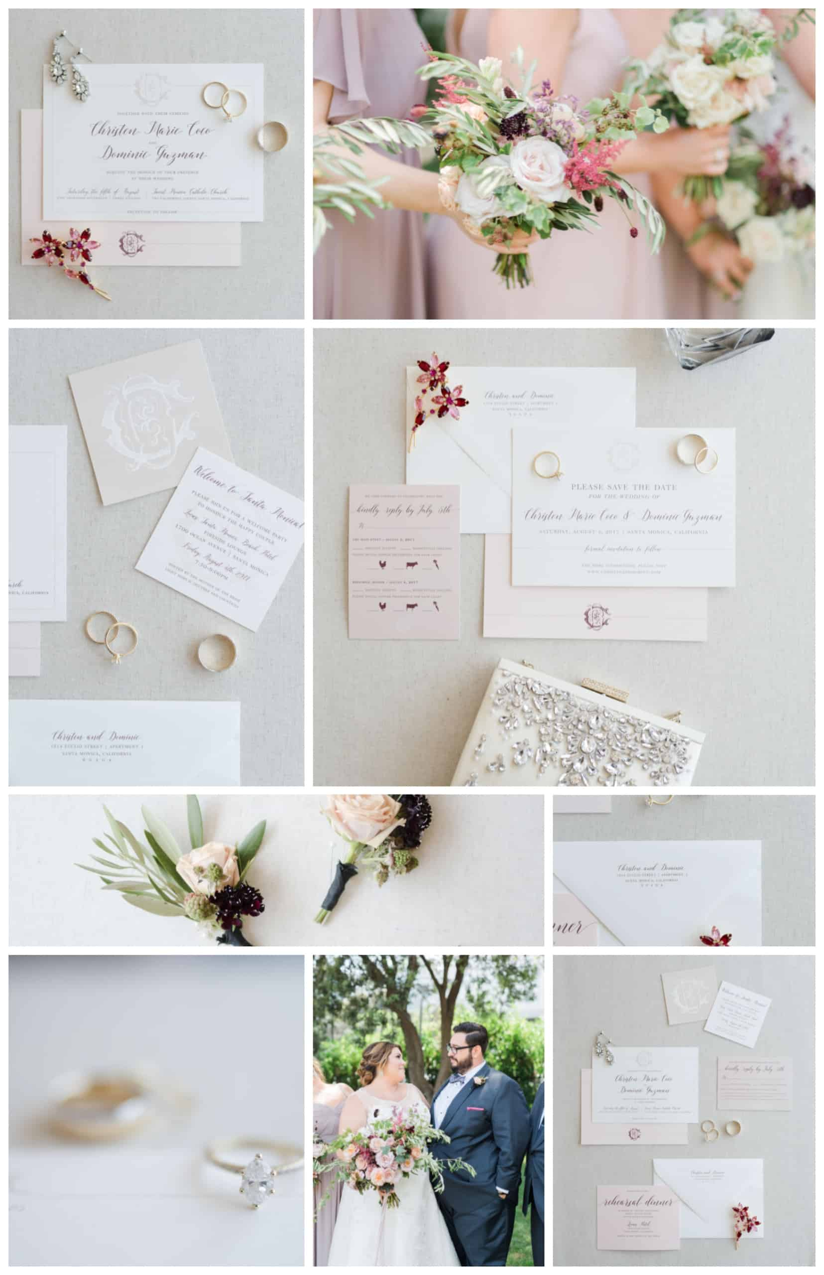Blush and Burgundy Monogram California Wedding
