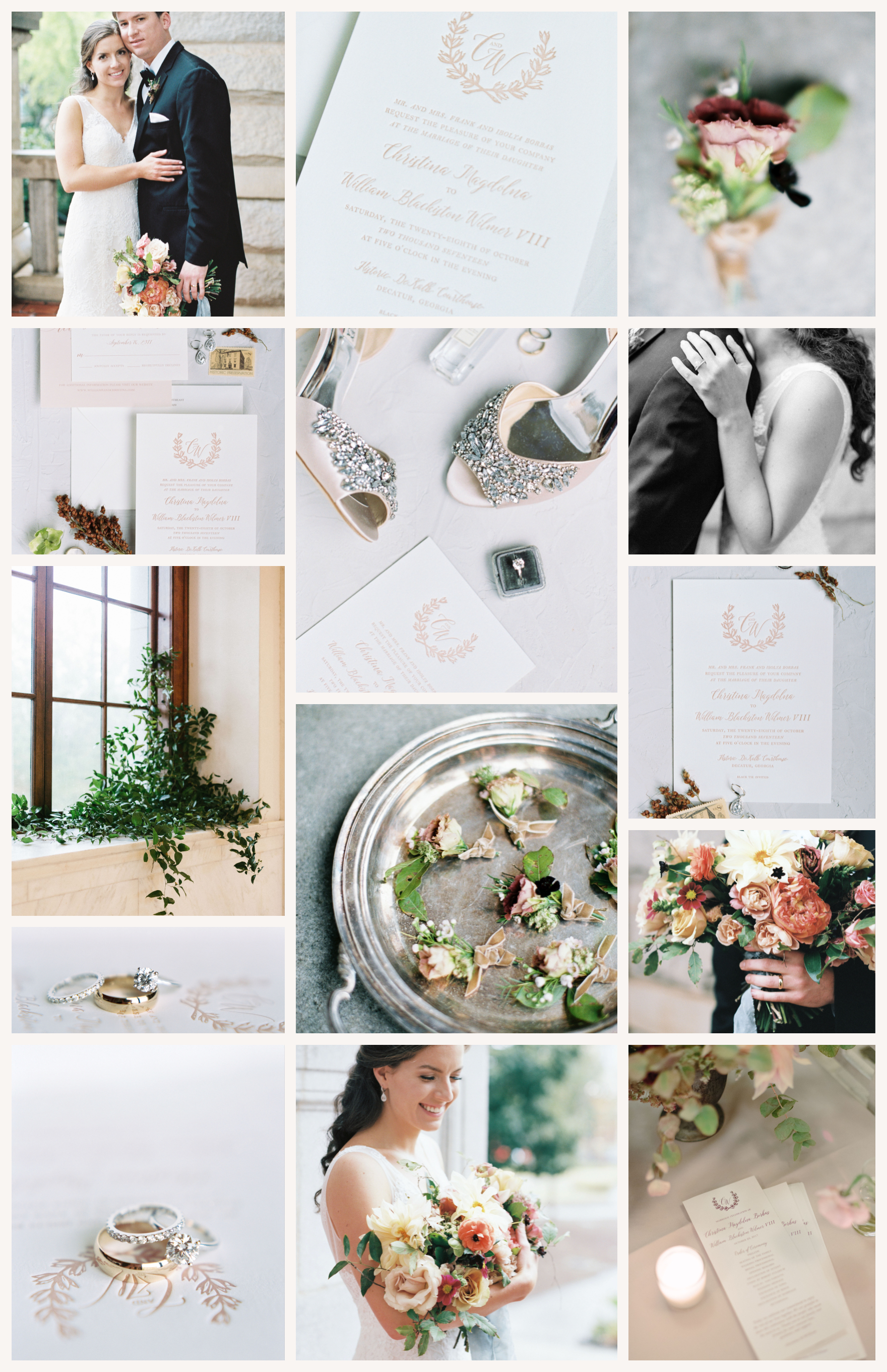 Soft Rose & Blush Monogram Georgia Wedding