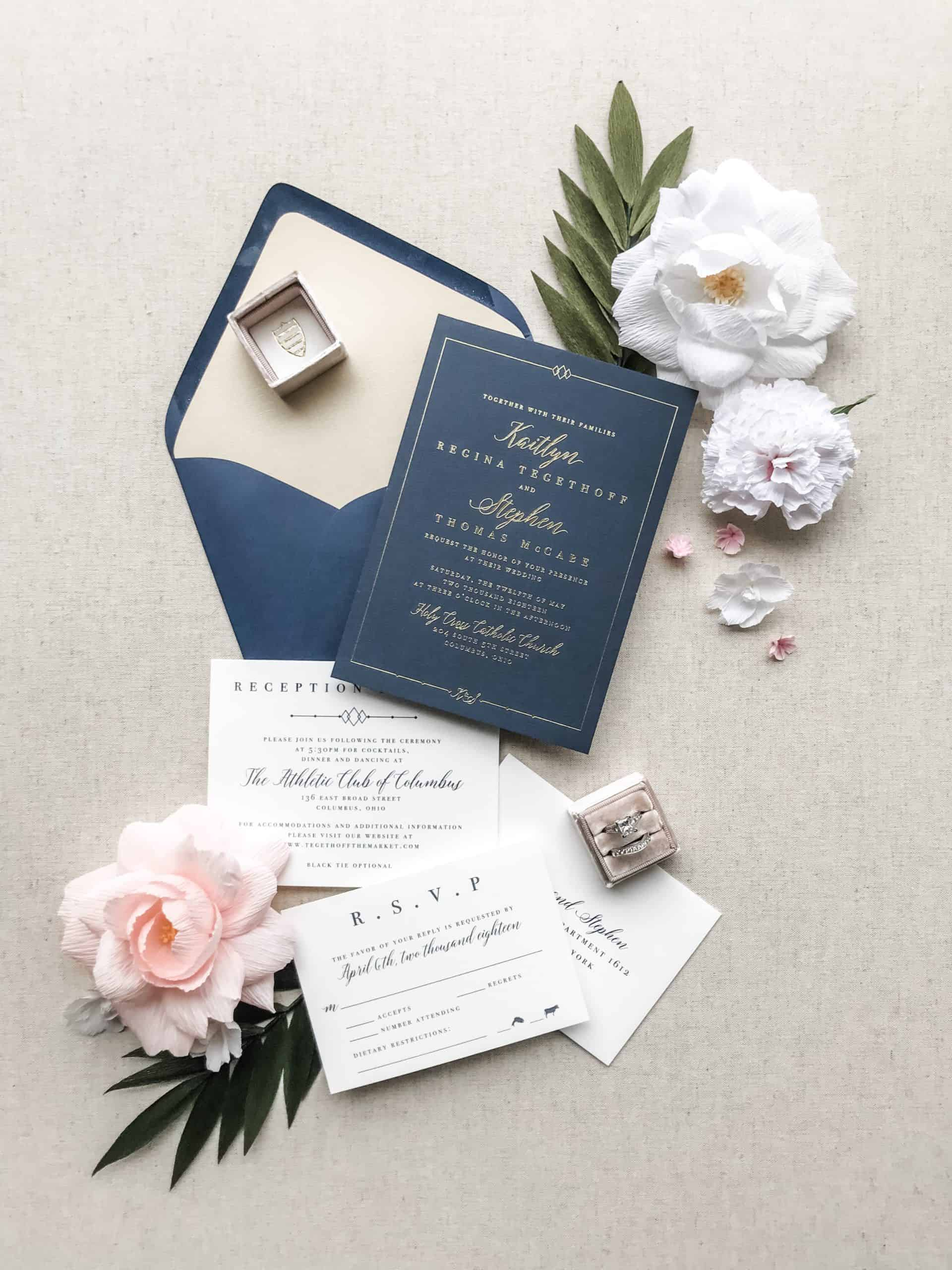 Glamorous Navy, Pink and Gold Wedding