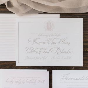 Blush Monogram Calligraphy Wedding Invitation Suite