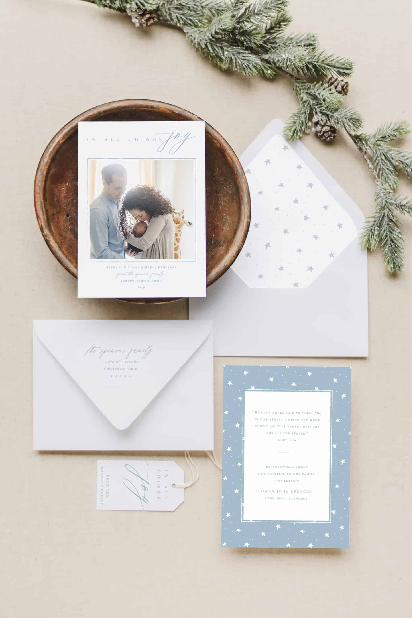 All Things Joy New Baby Christmas Card