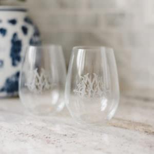 Custom Monogram Stemless Wine Glasses