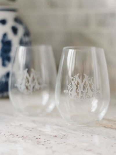 Custom Monogram Stemless Wine Glasses