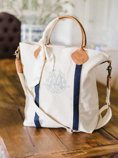 Embroidered Custom Monogram Zip Tote