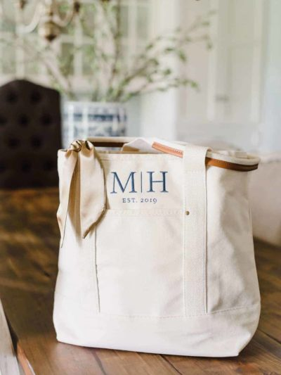 Embroidered Custom Monogram Everyday Tote
