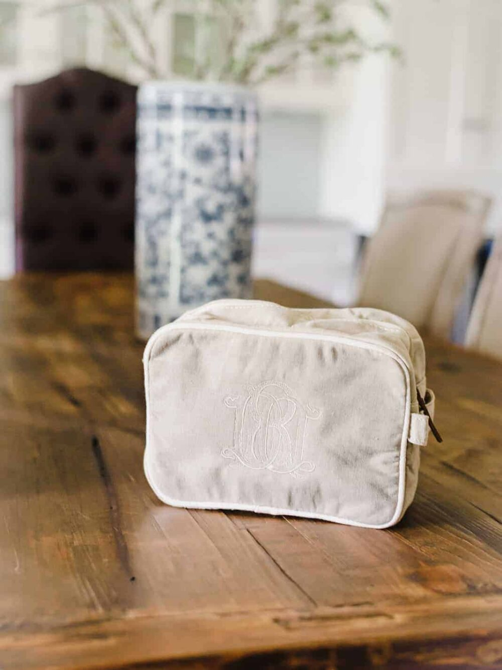 Embroidered Custom Monogram Travel Pouch