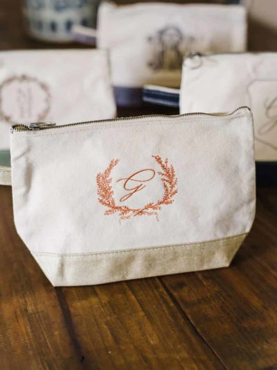 Embroidered Custom Monogram Pouch