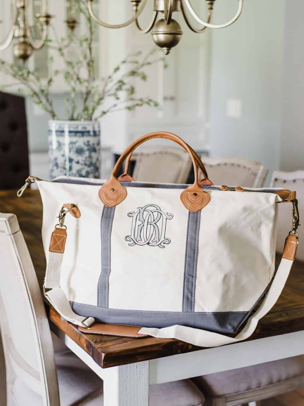 Embroidered Custom Monogram Weekender Bag