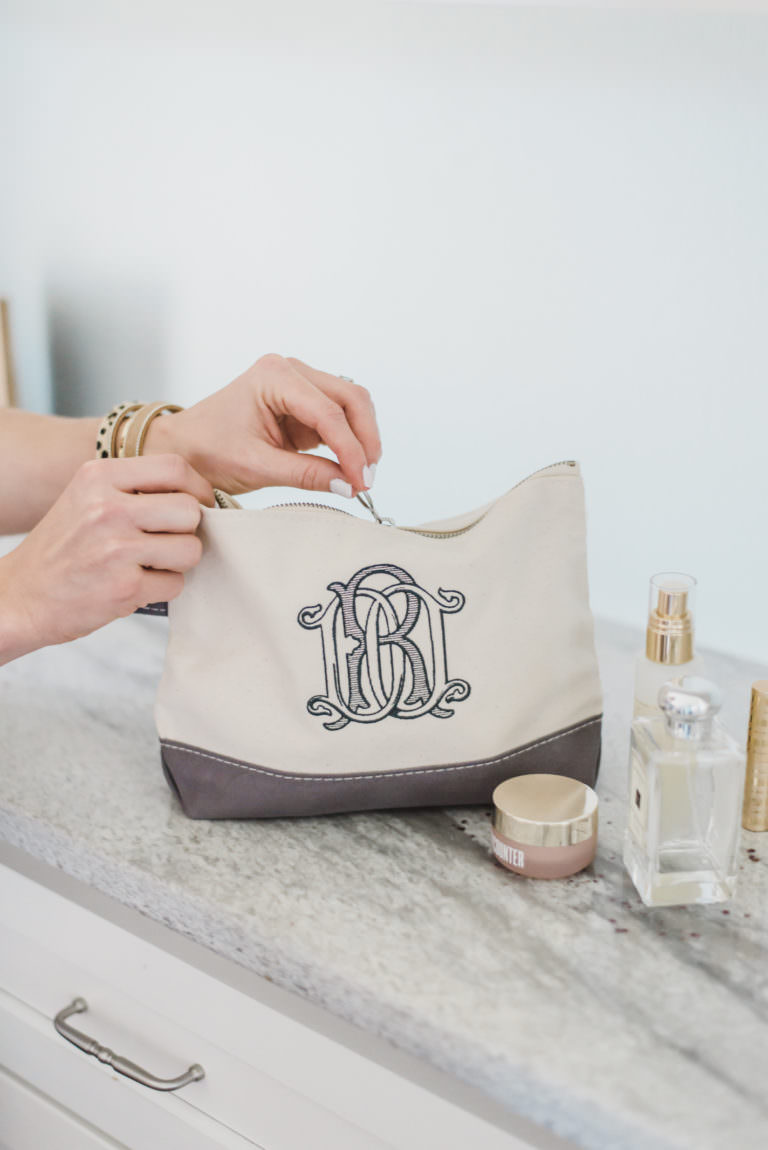 Monogram bridesmaid makeup bag