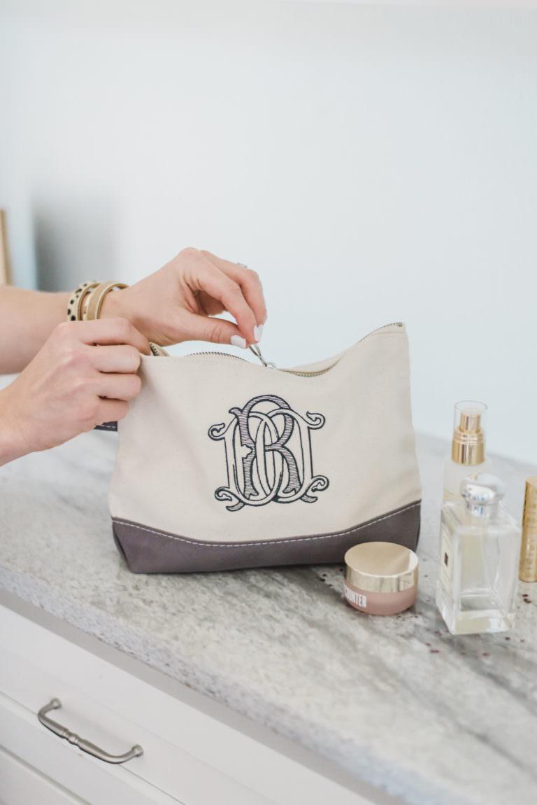 Monogram bridesmaid makeup bag
