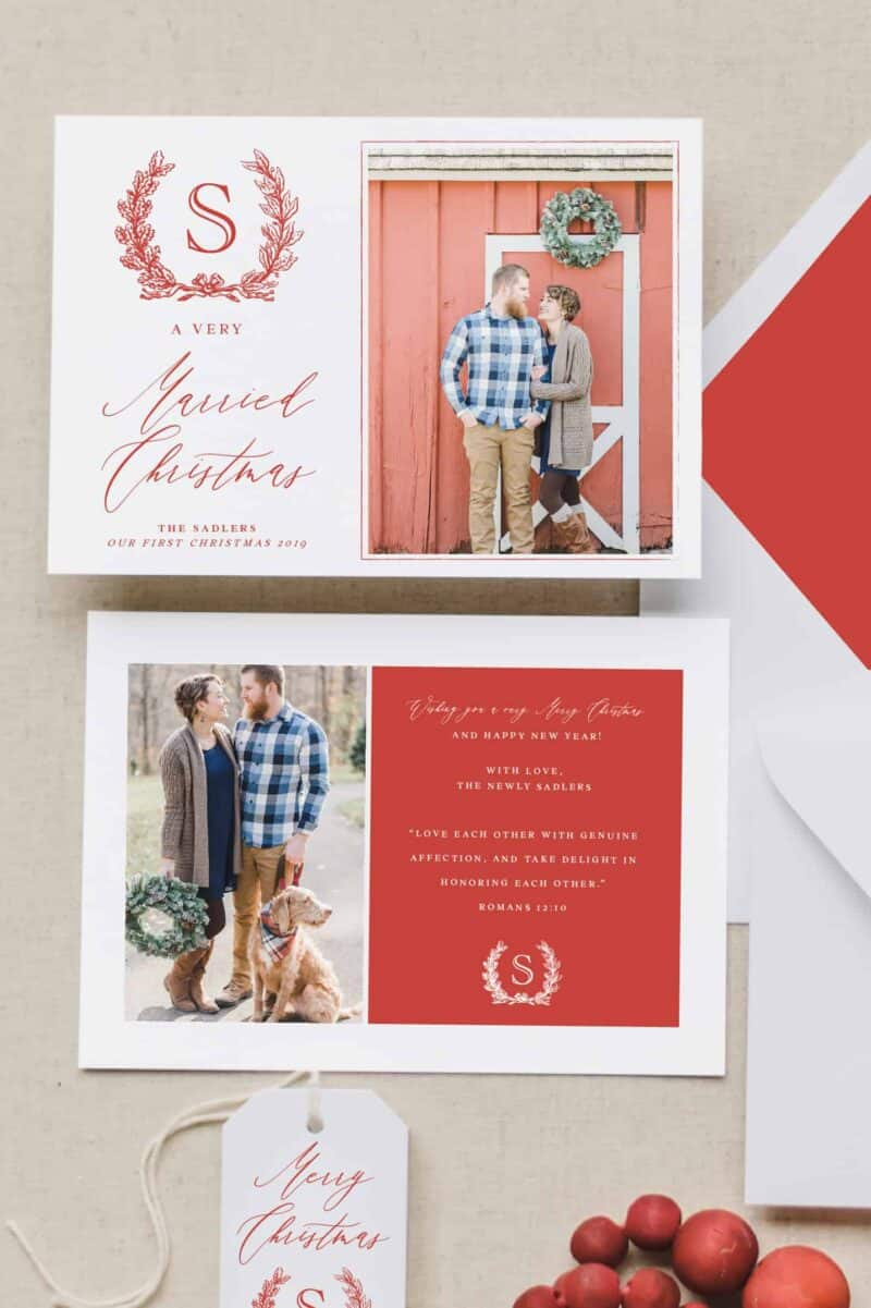 Married Christmas Photo Card 1