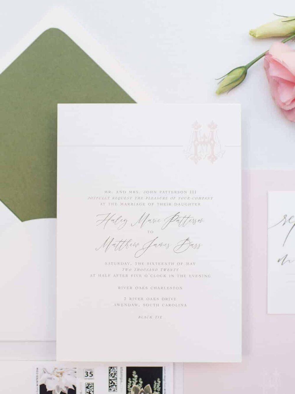 Blythe Blush Monogram Traditional Wedding Invitation Suite