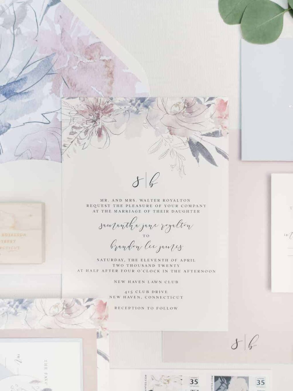 Poppy Watercolor Floral Monogram Wedding Invitation Suite