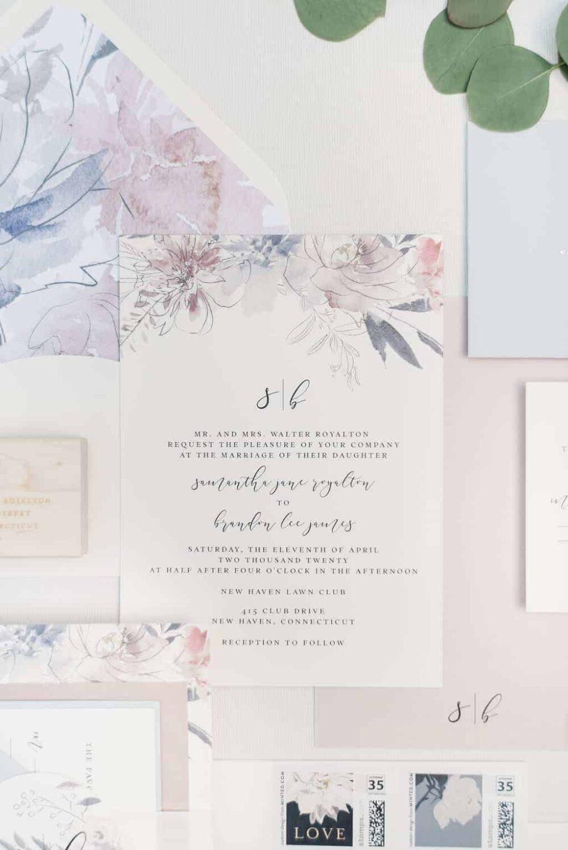 Poppy Watercolor Floral Monogram Wedding Invitation Suite