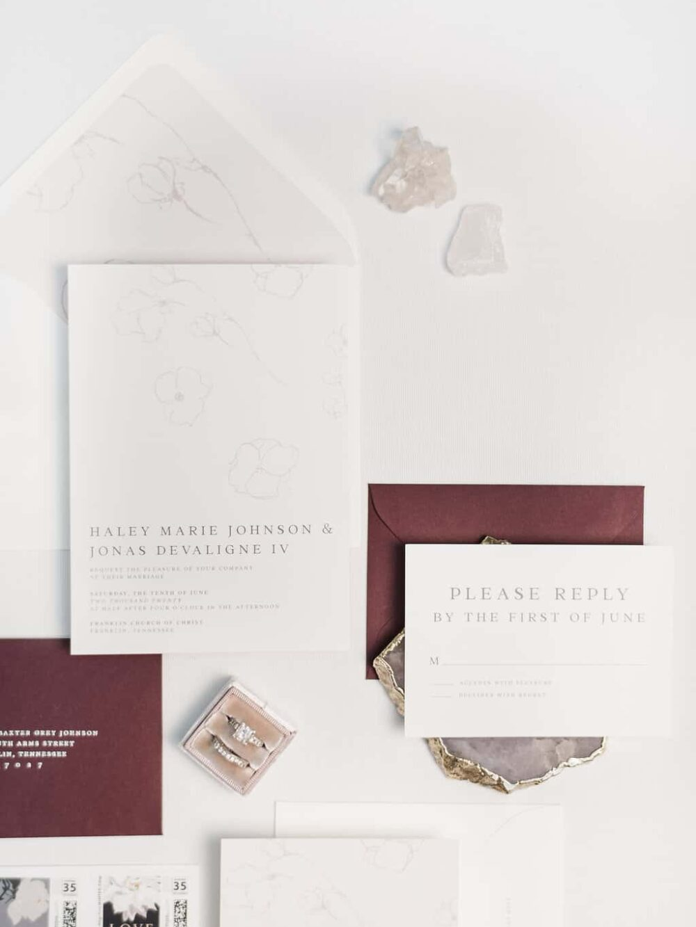 Grace Modern Floral Wedding Invitation