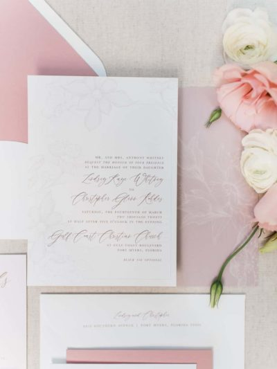 Greer Traditional Floral Script Wedding Invitation Suite