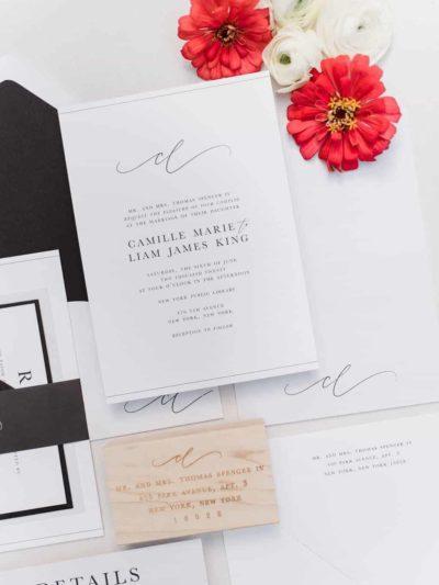 Camille Modern Script Wedding Invitation Suite