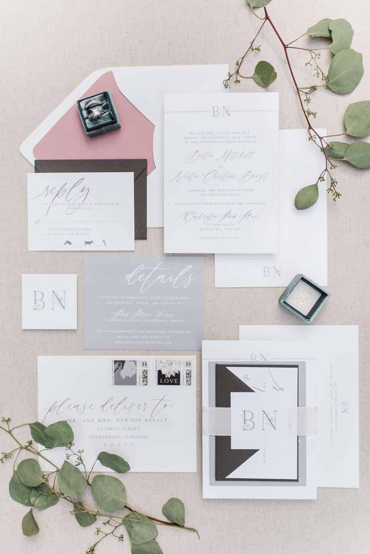 Benton Floral Monogram Wedding Invitation Suite