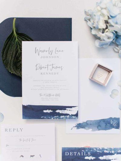 Waverly Navy Watercolor Wedding Invitation
