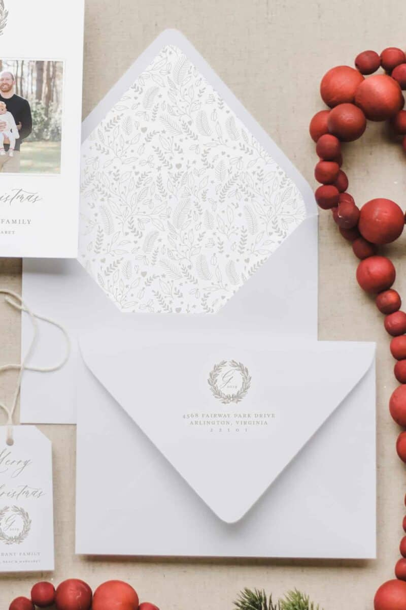Monogram Merry Christmas Envelope Liner