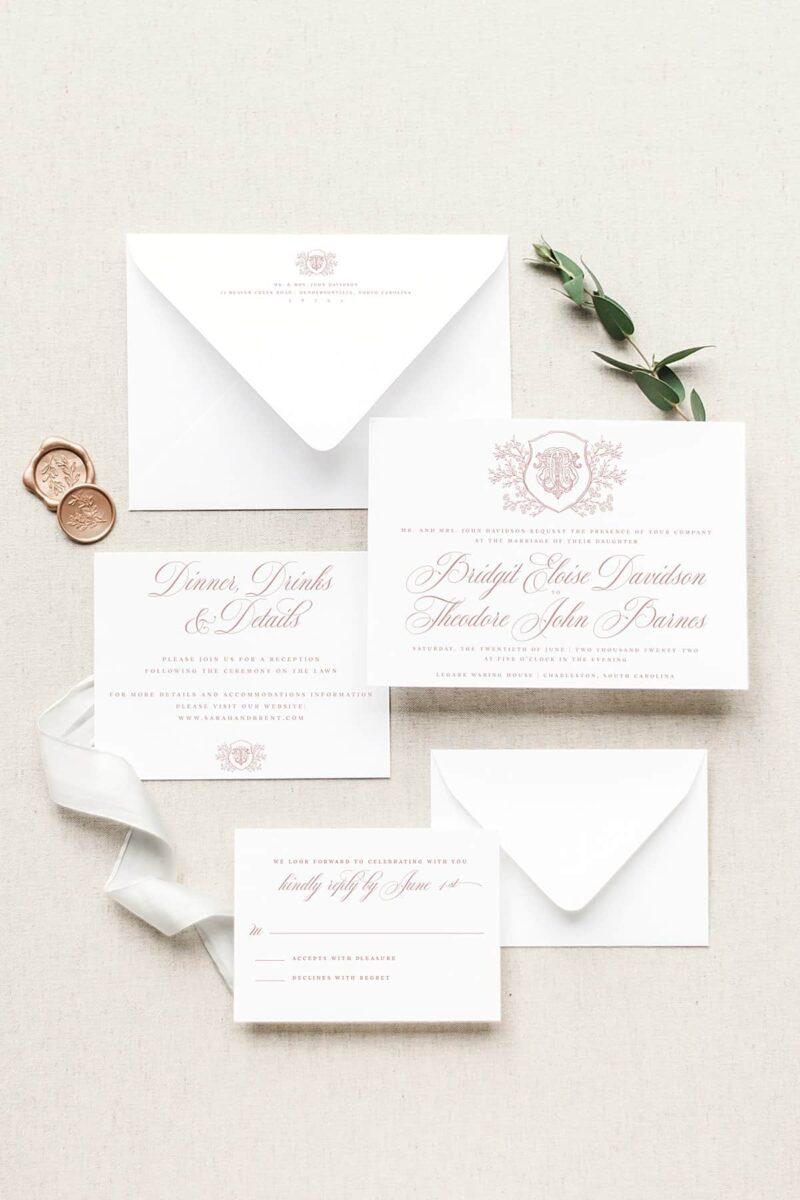 Ellison Vintage Monogram Wedding Invitation Suite