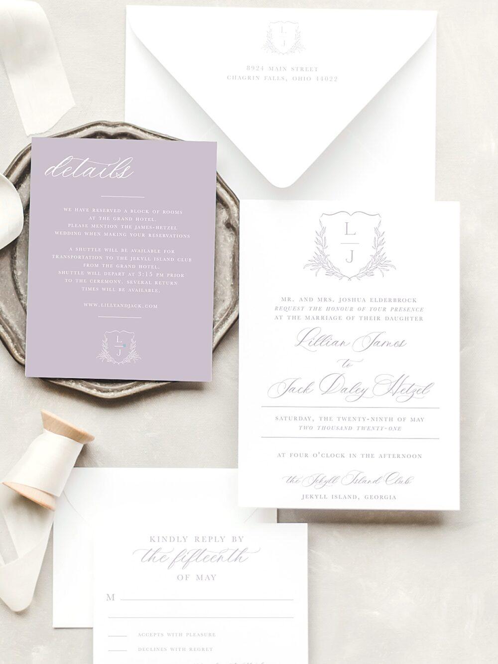 Lillian Monogram Crest Wedding Invitation