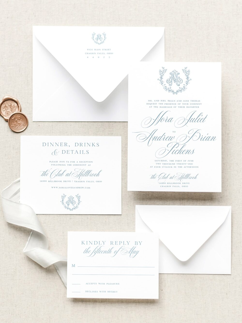 Eloise Vintage Wreath Monogram Wedding Invitation