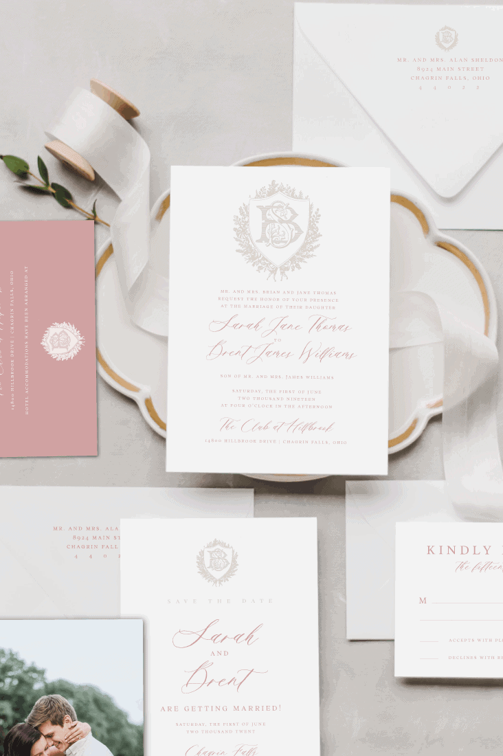 Eloise Vintage Crest Wedding Invitation