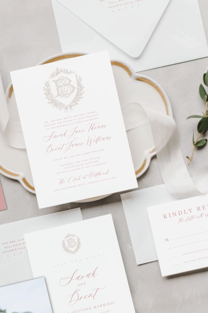 Eloise Vintage Crest Wedding Invitation