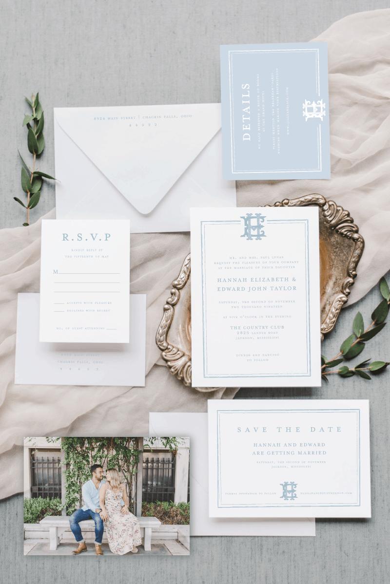 Hannah Classic Border Wedding Invitation