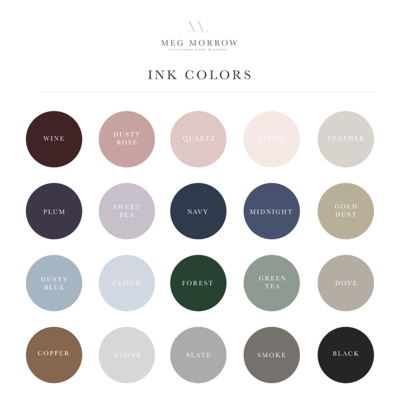 Meg Morrow Stationery Ink Color Options