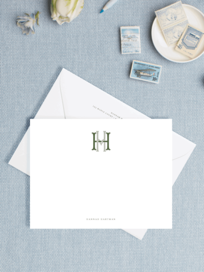 Monogram Letterpress Personal Stationery
