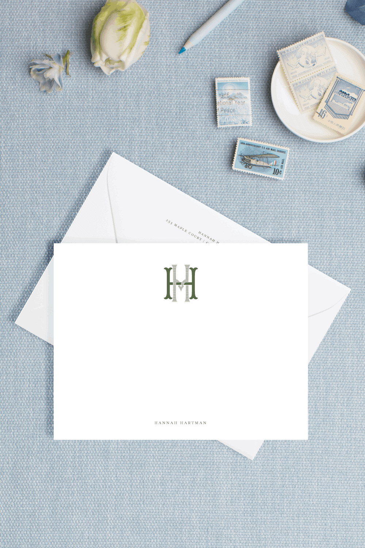 Monogram Letterpress Personal Stationery