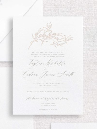 Magnolia Calligraphy Wedding Invitation