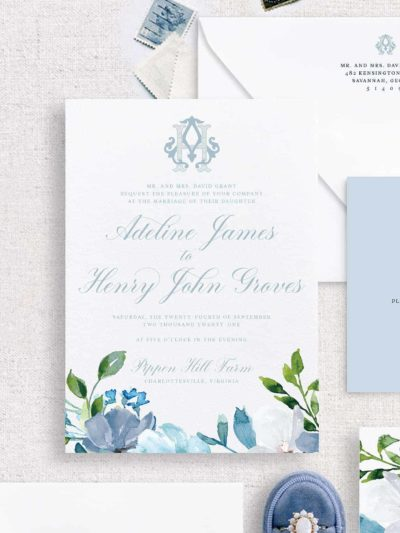 Savannah Monogram Watercolor Floral Wedding Invitationv