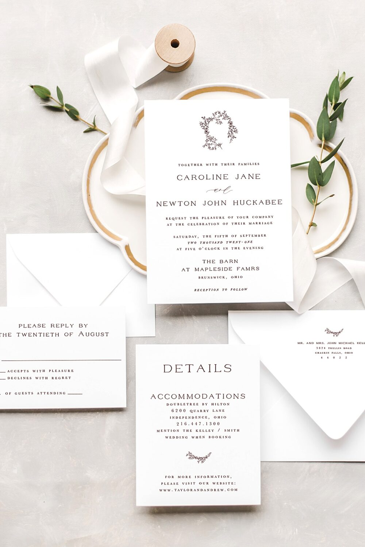 Magnolia Floral Wreath Wedding Invitation